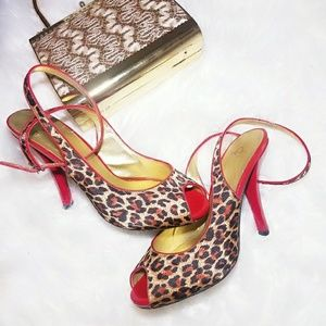 Joey Red Ankle Strap Heels Size 8.5 Cheetah Shoes